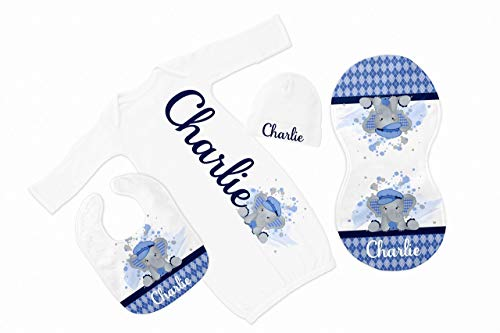 New Baby Boy's White with Blue Argyle Elephant Personalized Infant Gown with Black Coming Home - Argyle Bodysuit