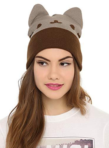 Pusheen Beanie Hat with Ears,Gray,Standard