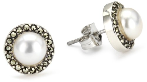 Judith Jack Sterling Silver, Freshwater Cultured Pearl, and Marcasite Button Earrings by Judith Jack