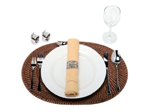 KOUBOO Oval Rattan Placemat, Honey Brown, Set of 2 - 17.5 Inch long x 12.5 Inch wide x 0.5 Inch high; Please allow for some tolerance as they are hand made Hand woven from Rattan Cleans with Damp Cloth - placemats, kitchen-dining-room-table-linens, kitchen-dining-room - 41SNlv7jAmL -