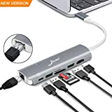 USB C Hub Adapter, EliveBuy 7 in 1 Thunderbolt 3 Type C Dongle for MacBook Pro 2018/2017/2016,Chromebook Pixel and Smartphone with 4K HDMI, Gigabit Ethernet, 100W Power Delivery and Card Reader