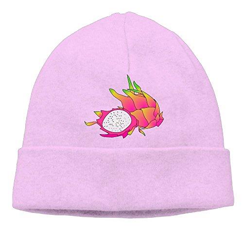 Ghhpws Cartoon Dragonfruit Beanie Wool Hats Knit Skull Caps Warm Winter Beanies for Men Women Pink