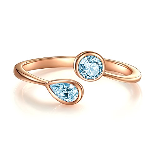 Jewelry Sterling Silver Rings, Wrap CZ Stackable Cubic Zirconia December Simulated Blue Topaz Birthstone Ring Rose Gold Plated Sterling Silver Open Ring