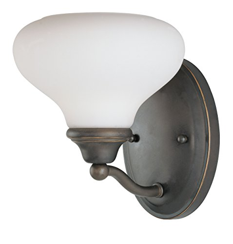 - Westinghouse Lighting 6657700 1-Light Interior Wall Fixture, Burnished Bronze Patina Finish with Frosted White Opal Glass