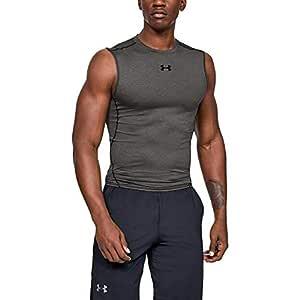 Under Armour Men's HeatGear Sleeveless Compression T-Shirt, Mens, 1257469, Carbon Heather (090)/Black, Medium