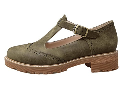 Closed Buckle Pumps Nubuck Toe Green Round WeenFashion Shoes Army Women's Leather StqWwn0X