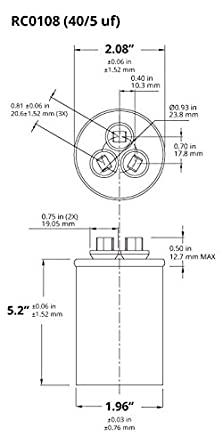 41SNn%2B7tAYL._SY445_ temco dual run capacitor rc0108 40 5 mfd 370 v 440 v vac volt 40 Rheem Thermostat Wiring at n-0.co