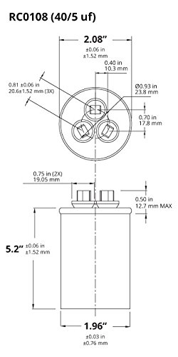 41SNn%2B7tAYL temco dual run capacitor rc0108 40 5 mfd 370 v 440 v vac volt 40 Rheem Thermostat Wiring at n-0.co
