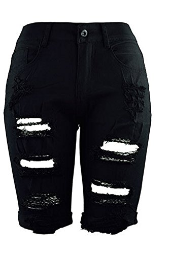 Strappata Yulinge Casual Donne Vita Jeans Estate Di Alte Slim Pantaloncini Black qqtPpxgwT
