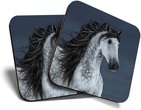 Great Coasters (Set de 2) Posavasos cuadrados/brillantes de calidad para cualquier tipo de mesa, caballo andaluz gris #12556