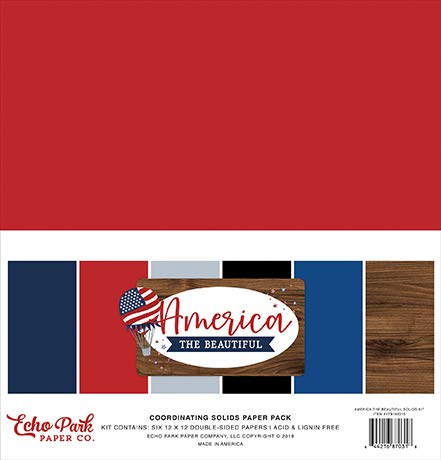 (Echo Park Paper Company ATB192015 America The Beautiful Solids Kit Paper, red, White, Blue, Navy)