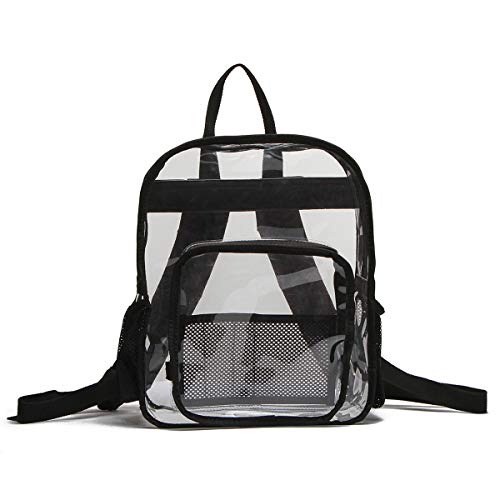 (Best Black Unique Cute Clear Transparent Big PVC Backpack Stadium Back Bag Back to School Gift Idea for Adult Men Women Boy Girl Kid)