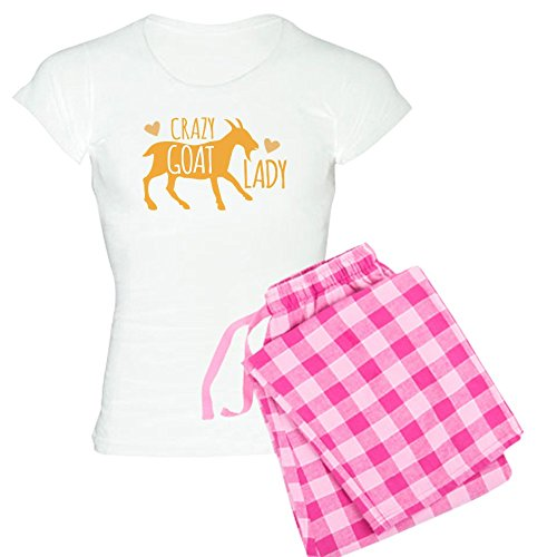 CafePress Crazy Goat Lady Pajamas - Womens Novelty Cotton Pajama Set, Comfortable PJ Sleepwear - Flannel Crazy Pajamas