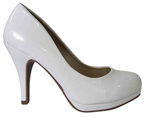 Cambridge Selezionare Donna Chiuso Punta Rotonda Imbottito Comfort Piattaforma Slip-on Stiletto Pompa Tacco Alto Brevetto Bianco