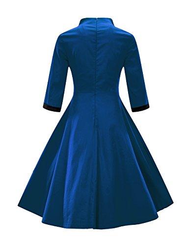 Hiver VKStar Montant Longues de Rtro Robe Chic Crmonie Bleu Style Automne Chinois Col Femme Robe Line Soire Robe Swing Manches A xxEzrUn