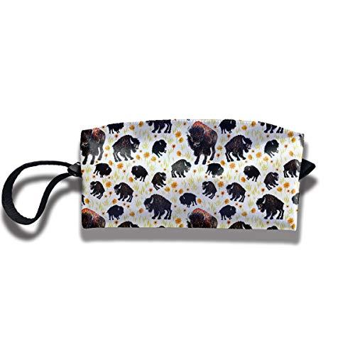 (FRTSFLEE Pencil Bag Makeup Bag Buffalo Bison Southwestern Women Cosmetic Bag Multifuncition Durable Pouch Zipper Organizer Bag)