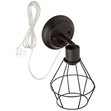 Globe Electric Verdun 1-Light Plug-In or Hardwire Industrial Cage Wall Sconce, Matte Black Finish, On/Off Rotary Switch, 6' Clear Cord, 65291