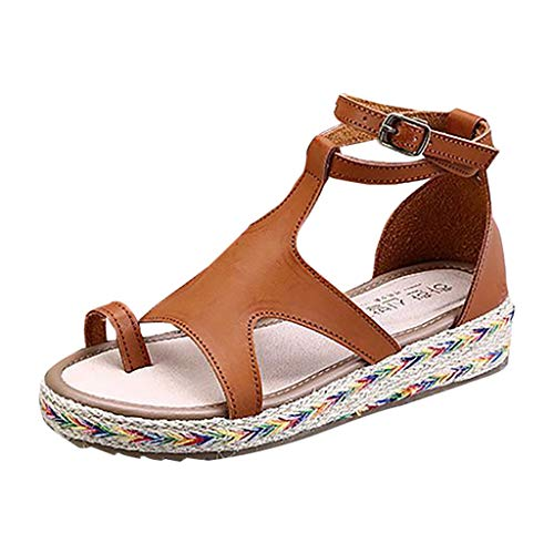 JUSTWIN Large Size Hemp Thick Platform Buckle Sandals Summer Peep Toe Flat Shoes Brown