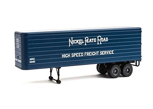 35' Fluted-Side Trailer 2-Pack - Assembled -- Nickel Plate Road (blue, white; High Speed Freight Service) (Scale 2 Pack Ho Trailer)
