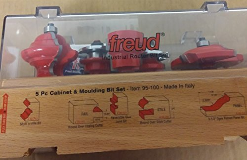 Freud 95-100 5-Piece Cabinet Door Bit Set with 99-510 Panel Router Bit by Freud
