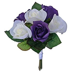 Purple & Ivory Garden Rose Stem Fake Flower Bouquet - Silk Wedding Flowers -Artificial Wedding Bouquets (Small) 43