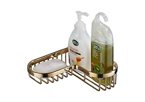 SANLIV Corner Wire Soap Basket Shower Caddy for Hotel Bathrooms, Solid Brass Materaial in PVD Gold Finishing