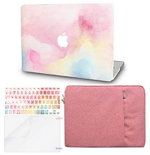 """KECC Laptop Case for MacBook Air 13"""" w/Keyboard Cover + Sleeve + Screen Protector (4 in 1 Bundle) Plastic Hard Shell Case A1466/A1369 (Rainbow Mist)"""