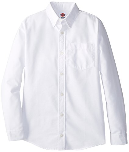 Dickies Big Boys' Long Sleeve Oxford Shirt, White, Large (14/16) (Shirt Big White Boys)