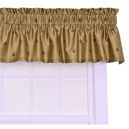 Ellis Curtain Fleur Di Lis Faux Silk Tailored Valance Window Curtain, Gold