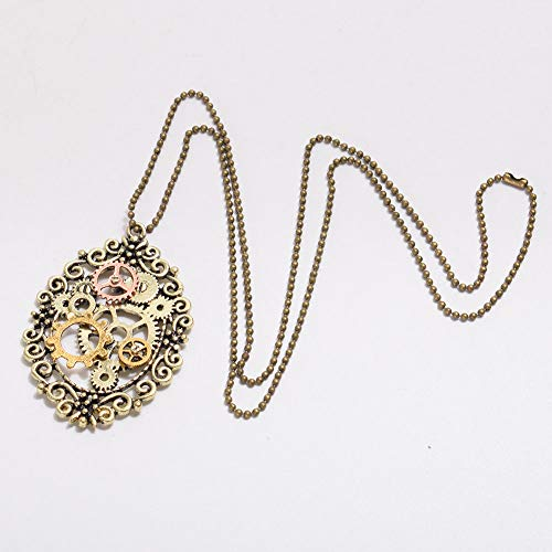 - 1pc Victorian Flower Bronze Gear Necklace Vintage Steampunk Necklace Pendant PI3E