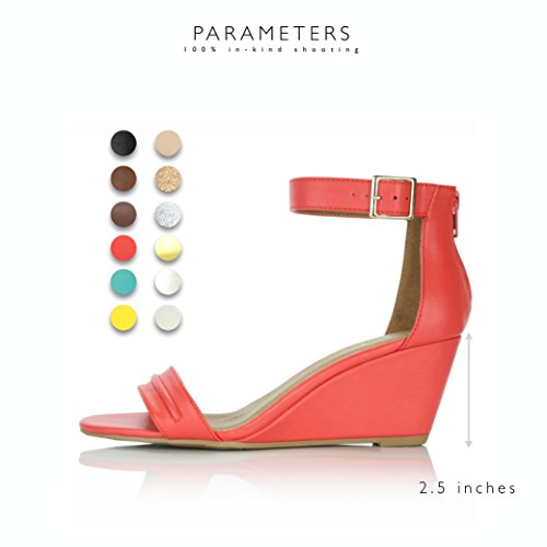 Heel Fashion DailyShoes Pu Wedge Low Platform Ankle Women's Shoes Sandals Strap Design Buckle Summer Red qwwvfEC