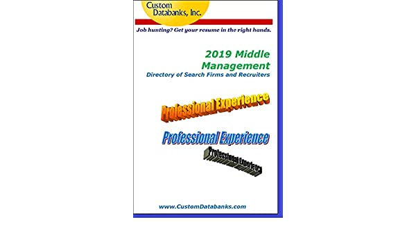Amazon com: 2019 Middle Management Directory of Search Firms