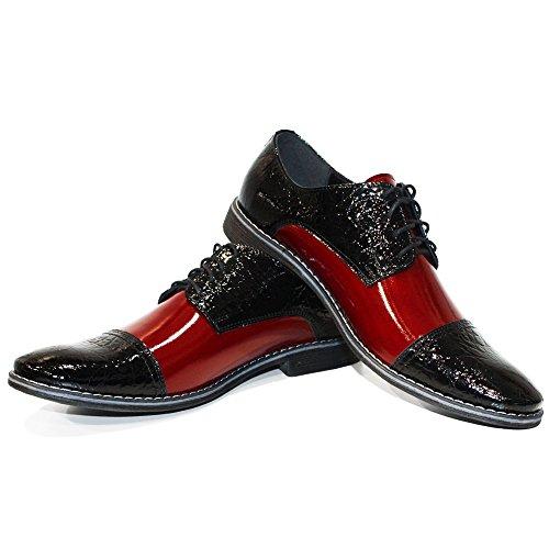 Modello Monomo - Cuero Italiano Hecho A Mano Hombre Piel Borgoña Zapatos Vestir Oxfords - Cuero Cuero repujado - Encaje
