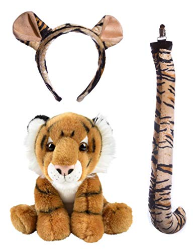 (Wildlife Tree Stuffed Plush Tiger Ears Headband and Tail Set with Baby Plush Toy Tiger Bundle for Pretend Play Animals Dress Up)