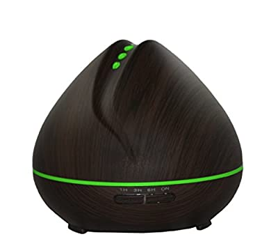 400ml Essential Oil Diffuser, Ultrasonic, Aromatherapy Wood Grain Design, 7 Color LED, Auto Shut-Off, 3 Adjustable Mist Modes, 1hr/3hr/6hr/Continuous Run Settings with Quiet Operation
