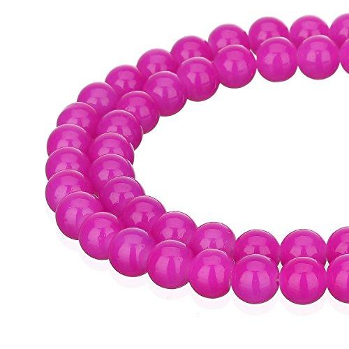 RUBYCA 1 Strand 12MM Jade Imitation Round Painted Coated Glass Bead DIY Jewelry Making Fuchsia Pink ()