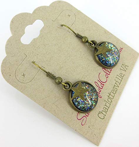 Antiqued Gold-tone Black Glitter Glass Star Charm Galaxy Dangle Earrings Hand-painted