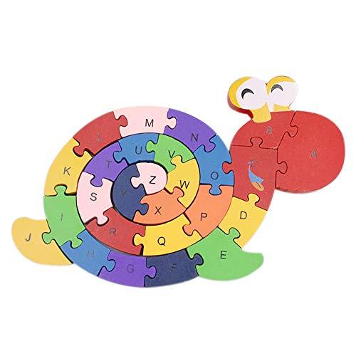(leomoste Alphabet Jigsaw Puzzle Snail Wooden Letters Building Blocks Education Toy for Kids)