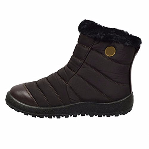 Sale Gifts - Best Brown Low Heel Non Slip Faux Fur Easy Zipper Western Botas Vaqueras De Mujer Sketches Short Snow Ski Bootie Boot Shoe Cyber Monday Deal Christmas Gift Idea for Sale Women Teen Girl (Size8 Brown)