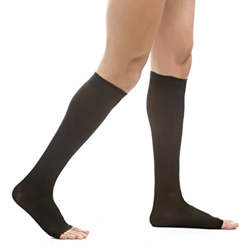 EvoNation Men's USA Made Open Toe Graduated Compression Socks 20-30 mmHg Firm Pressure Microfiber Medical Quality Knee High Toeless Support Stockings Hose - Comfort Circulation Travel (Large, Black) Ted Knee Length Stockings