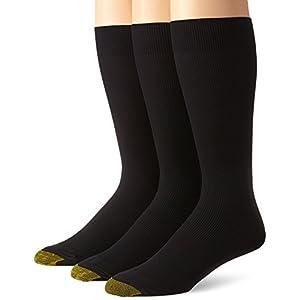 Gold Toe Men's Metropolitan Extended Sock, 3 Pack,Black,13-15