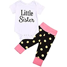 hesheng Baby Girls Clothes Little Big Sister T-Shirt Romper + Polka Dot Pants Outfits Set