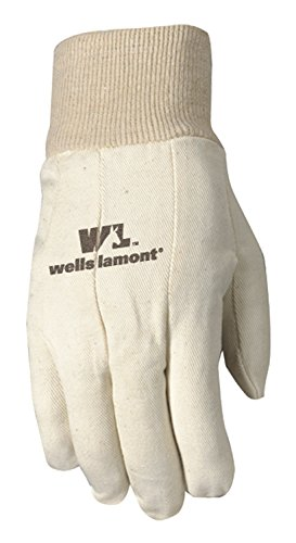 Poly Cotton Canvas Gloves - Wells Lamont Canvas Work Gloves, Standard Weight, Wearpower, Large (48L)