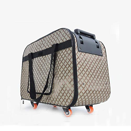 RUNWEI Carrier with Wheel, Luxury Pet Bag Strollers with Comfortable Mat for Travel, Hiking,Camping, Designed for Cats, Dogs, Kittens, Puppies, (Color : Brown) - Jacquard Pet Carrier