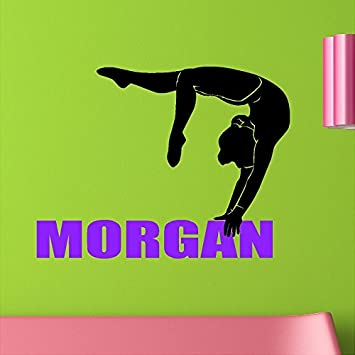 Personalized Custom Gymnastics Girl Wall Decal Vinyl Sticker Removable Wall  Art Lettering