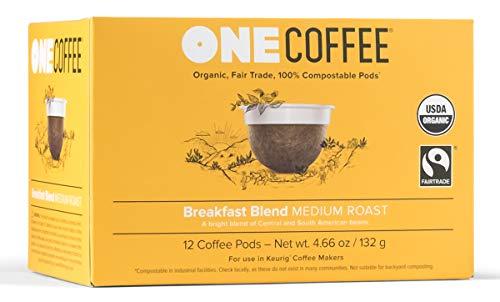 OneCoffee Organic Breakfast Blend 12 Count Single Serve Coffee 100% Compostable K Cup for Keurig Machines - Medium Roast