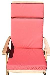 Cojín para muebles de jardín- Cojín con respaldo para silla de jardín grande - Color terracota