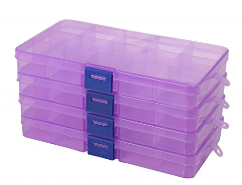 LOUISE MAELYS 4Pack 15 Grids Adjustable Plastic Storage C...