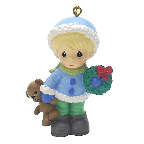 Boy Teddy Bear Ornament - Precious Moments Christmas Holiday Tree Ornament - Little Boy in Blue Carrying A Teddy Bear and Christmas Holiday Wreath…