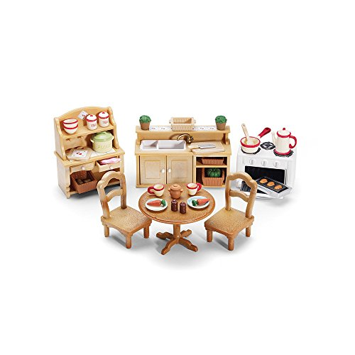 Calico Critters Deluxe Kitchen Set - Includes Over 40 Accessories - Perfect Kitchen for Your Child's Calico Critter Friends - Adorable and Intricately Detailed - Characters and Homes Sold Separately